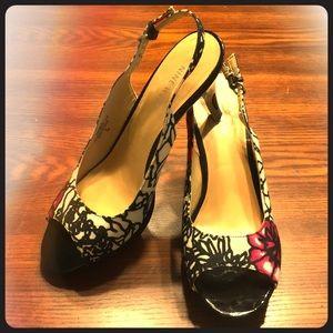Nine West floral slingback heel